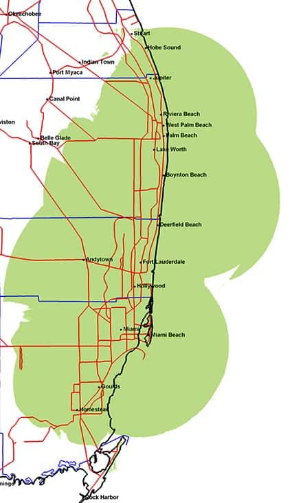 Southeast Florida Map.Coverage Maps Industrial Communications And Electronics